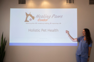 Dr. Jessie Dreyfuss gives a presentation on holistic pet health in Fort Lauderdale
